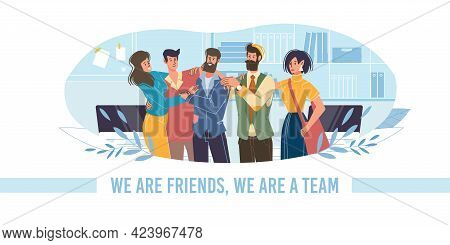 Vector Cartoon Flat Characters Friends Happy Hugging Each Other, Friendly Team Young People -communi