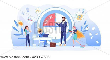 Vector Cartoon Flat Boss Manager, Office Workers Characters In Work Conflict Scene.angry Boss Shout