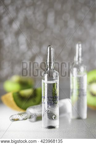 Ampoule With Vitamin C For Injection. Natural Cosmetics Concept. Organic Cosmetics. Cosmetology Inje