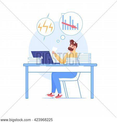 Vector Cartoon Flat Employee Character At Work Deadline Scene.unhappy Upset Employee Office Worker I