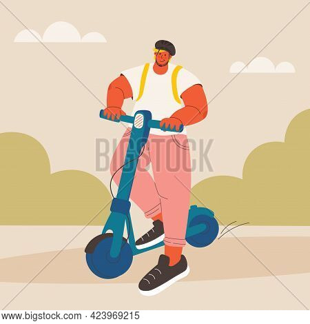 Young Man On Electric Scooter. Guy In Protective Helmet In Park Moves On Scooter. Vector Trendy Illu