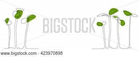 Radish Sprout Vector Stock Illustration. Sprouted Red Radish. Micro-village Art Is A Continuous Sing