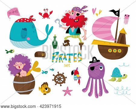 Cute Pirate Objects Collection. Pirate, Ship, Mermaid, Whale And Other Decorative Elements. Vector I