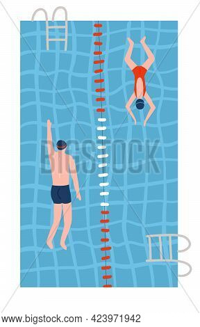 People In Swimsuits Swiming In The Pools. Swimming Pool Top View Flat Vector Illustration. Male And