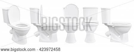 Toilet Bowl On White Background. White Toilet Bowl Isolated. Set Of Toilet Bowls.