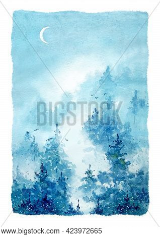 Watercolor Illustration On Textured Paper. Landscape Painting In Blue Tones. Pine Forest In The Even