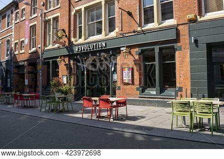 Nottingham, Nottinghamshire, England- June 1, 2021. Revolution Bar On The Broad Street Exterior View