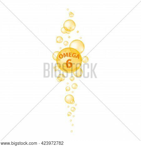 Omega 6 Fatty Acid Balls. Fish Oil Capsules. Gold Sparkling Bubbles Streaming. Food Supplement For B