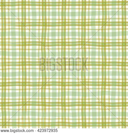 Olive Brown Green Vintage Checkered Background. Space For Graphic Design. Checkered Texture. Classic