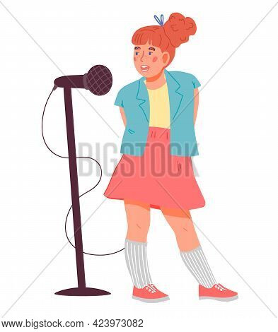 Cute Child Girl Singing. Children Music And Vocal Education, Flat Vector Isolated.