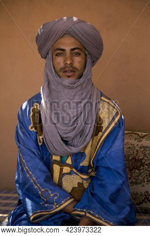 Ait-ben Haddou, Morocco. 30 September 2017. Local Man In Traditional Clothing In Kasbah Ait Ben Hadd