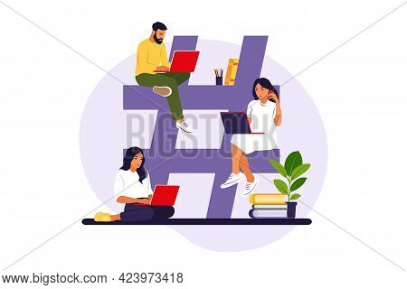 Hashtag And Social Media Concept. Young People With Hashtag Symbol. Vector Illustration. Isolated Fl
