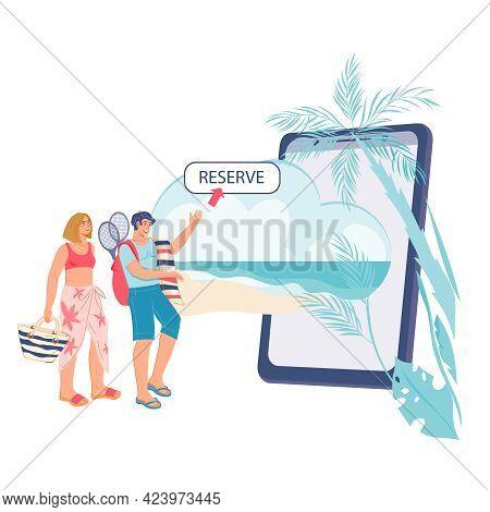 Online Booking And Resort App With Couple Arrange Journey, Flat Vector.