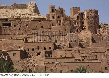 Ait-ben Haddou, Morocco. 30 September 2017. Traditional Kasbah Fortress Ait Ben Haddou In The High A