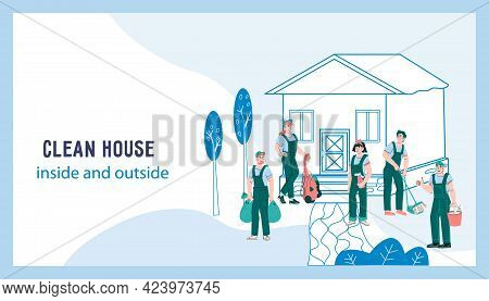 Website For Cleaning, Janitor And Garden Maintenance Services, Cartoon Vector.