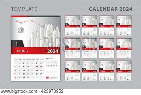 Calendar 2024 Template, Set Desk Calendar Design With Place For Photo And Company Logo. Wall Calenda