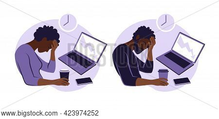 Professional Burnout Syndrome. Illustration Tired African Female And Man Office Worker Sitting At Th