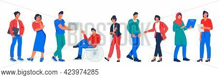 Business Team Of Diverse Multiethnic People, Flat Vector Illustration Isolated.