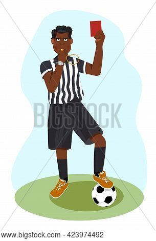 Whistling African American Soccer Referee Showing Stopping Hand During Match, Human Character Vector