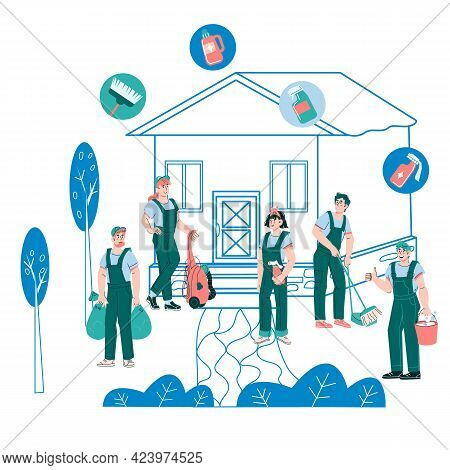 Cleaning, Janitor And Garden Maintenance Services Staff, Cartoon Vector Isolated.