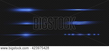 Laser Beams, Horizontal Light Rays, Blue Line.
