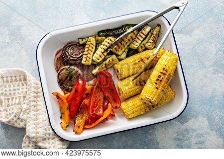 Grilled Summer Vegetables On A Tray, Just Cooked And Ready To Eat