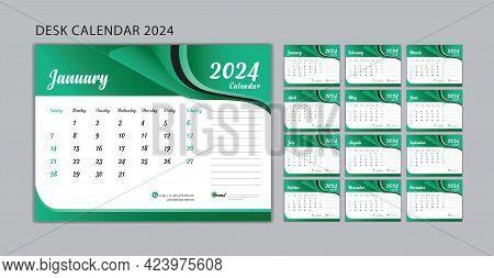 Set Desk Calendar 2024 Template Vector, Set Of 12 Months, Week Start On Sunday, Planner, Wall Calend