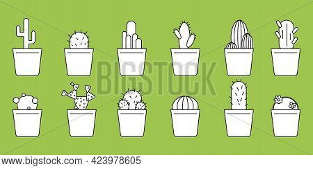 White Silhouette Of Flowerpots On A Green Background. Ecology Concept. Decoration Floral. Vector Ill