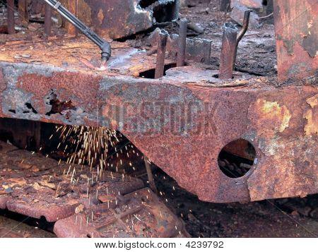 Cutting Rusty Steel