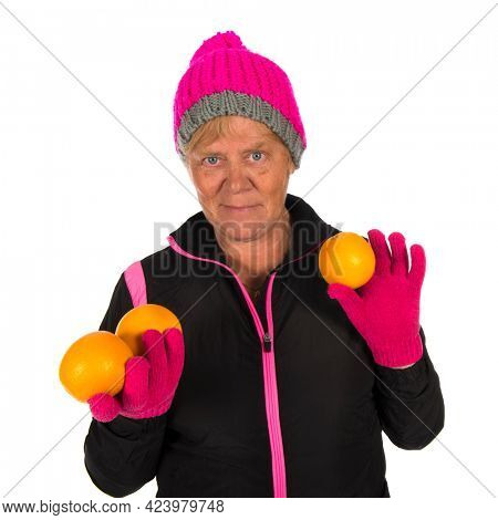 Old Fit sporty Healthy winter woman isolated over white background