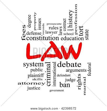Law Word Cloud Concept In Red Caps