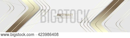 White Wide Luxury Abstract Background With Golden Lines And Shadows, Arrows And Angles. Modern Light