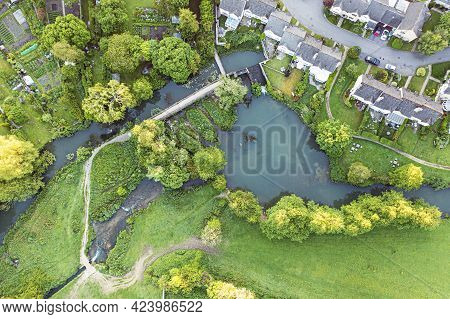 Aerial View Of The River Avon At , Malmesbury, Wiltshire