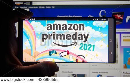 Montreal, Canada - June 17, 2021: Amazon Prime Day Page On A Phone Screen Over Amazon Web Site. Amaz