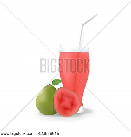 Realistic Guava Fruit Juice In Glass Straw Healthy Organic Drink Illustration