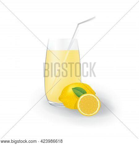 Realistic Lemon Fruit Juice In Glass Straw Healthy Organic Drink Illustration