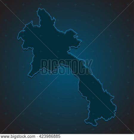 Simple Vector Country Asia Map Laos, Template