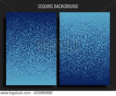 Poster Template Made Blue Sequins Or Glitters
