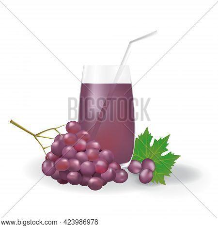 Realistic Purple Grape Fruit Juice In Glass Straw Healthy Organic Drink Illustration