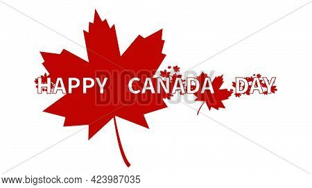 Happy Canada Day Background. Red Canadian Leaf. Canada Day Holiday Banner Design Template