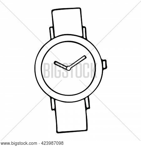 Wrist Watch Hand Drawn Vector Illustration. Father's Day Concept