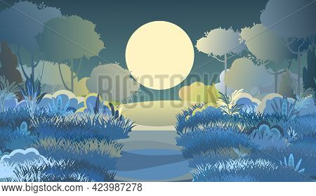 Rural Road. Night Beautiful Landscape. Cartoon Style. Moon. Hills Of Grass And Trees. Moonlight. Pat