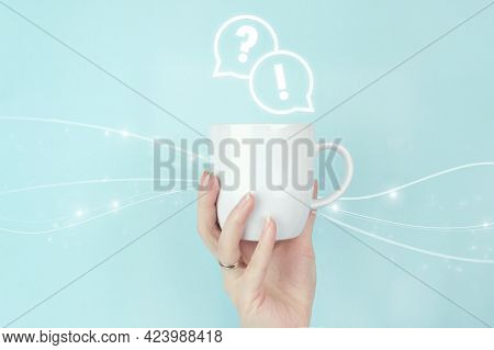 Faq Frequently Asked Questions Concept. Girl Hand Hold Morning Coffee Cup With Faq Question Answer S