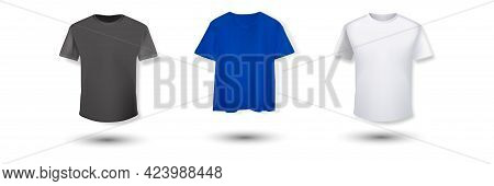 Shirt Mockup Set. T-shirt Template. Black, Gray And Red With White Version, Front Design