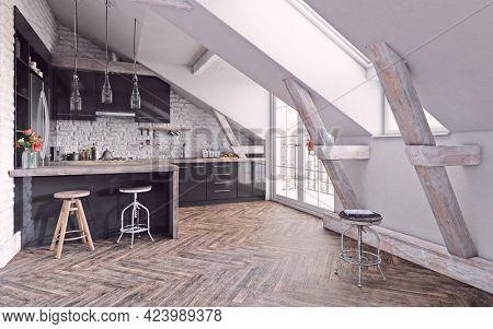 modern attic kitchen interior design. 3d concept illustration