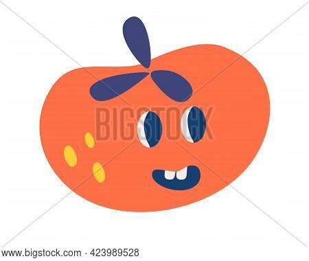 Tomato With A Funny Face. Healthy Food. Vegetarianism. Cute Tomato Vegetable Character Concept. Vect