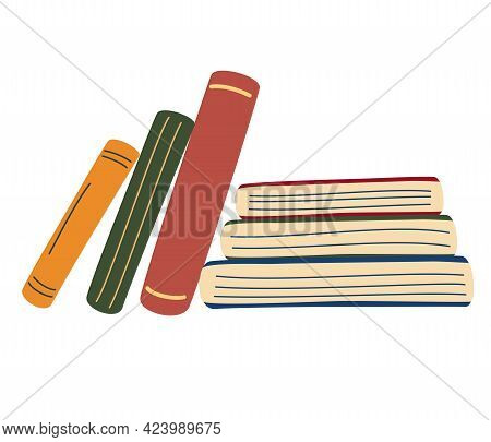 Stack Of Books. Vertical And Horizontal Books. World Book Day. Set Of Hand Drawn Educational. School