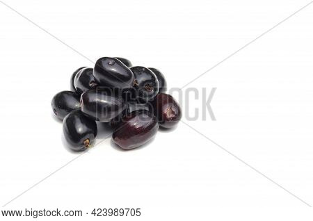 Closeup Of Malabar Plum Or Jamun Isolated On White Background With Copy Space, Also Known As Black P