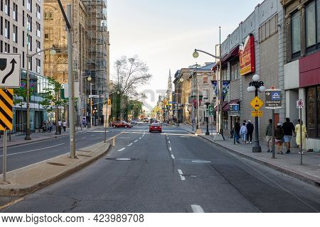 Downtown Street Of Ottawa City In Canada.