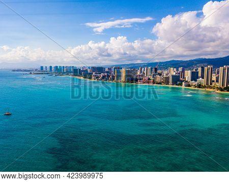 An Aerial View Of Waikiki Wall And Diamond Head In Honolulu, Usa